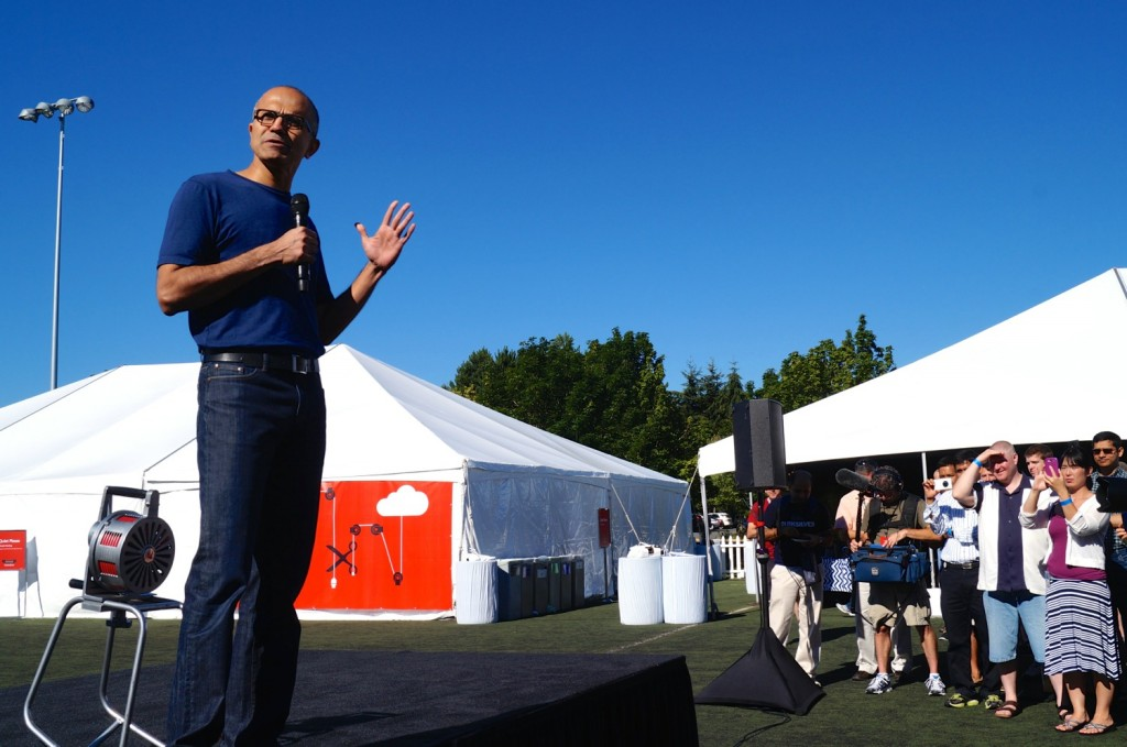 Microsoft CEO Satya Nadella addresses employees to launch the hackathon Tuesday morning.
