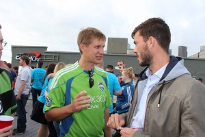 GeekWire founder and soccer nut John Cook with Seattle Sounders FC captain Brad Evans at least year's Sounders Day event.