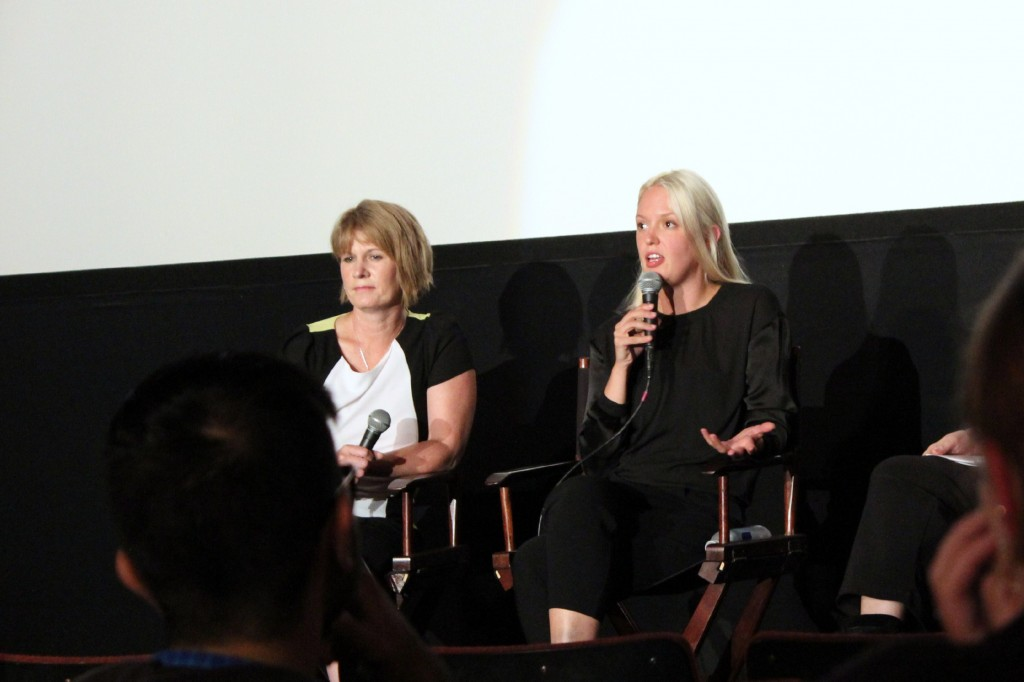 "Director Valerie Leatch (right) answers an audience question at a screening for her new documentary, ""Love Child,"" in Seattle on Wednesday."