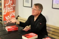 Robert Scoble signs copies of his book, Age of Context, at an event Tuesday evening in Seattle.