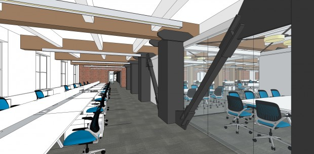 A rendering of McGraw-Hill's new office in Seattle.