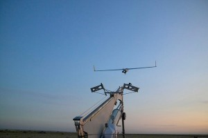 A ScanEagle drone launches at Boeing's test facility in eastern Oregon. (Boeing photo)
