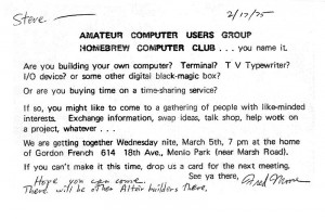 Invitation to the first meeting of the Homebrew Computer Club (Wikimedia Commons)