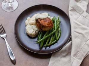 Recently added to the Lish menu: Smothered Pork Chop with Green Beans and Mashed Potatoes.