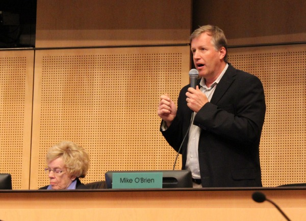Councilmember Mike O'Brien speaks at today's meeting.