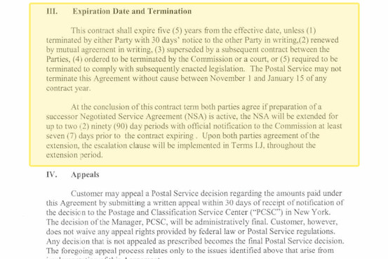 A portion of the Amazon and USPS contract (via WSJ).