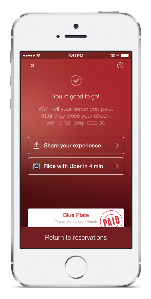 "OpenTable's iPhone app, with the new Uber API-powered ""Ride with Uber"" button"