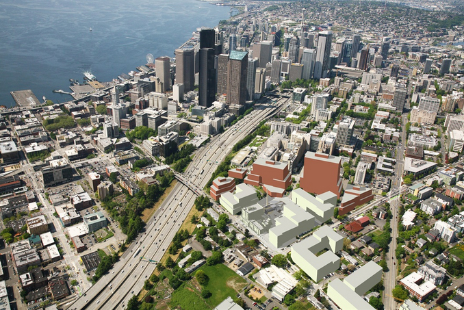 A mock-up of a potential layout for a 5-building campus at Yesler Terrace. Office buildings in red.