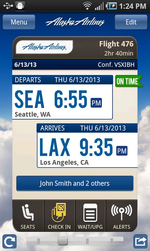 Alaska Airlines's Android interface