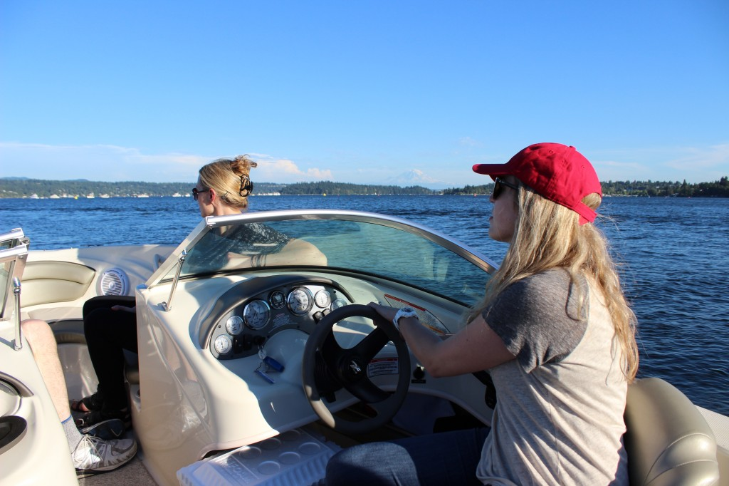 Riding on Lake Washington in Jessica's motorboat.