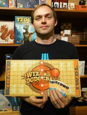 Peter Newland displays Wizard Dodgeball