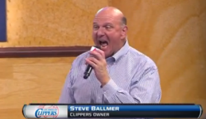 Ballmer pumps up the crowd at a Clippers rally earlier this month.