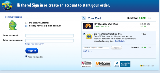 big fish checkout