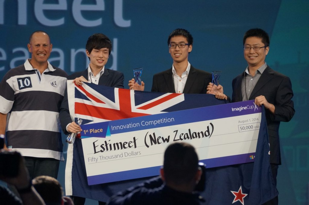 Microsoft's Steve Guggenheimer annouces Estimeet from New Zealand as the winner of the Innovation category in the 2014 Microsoft Imagine Cup.
