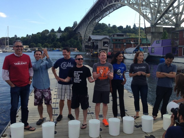Seattle tech CFOs get ready for the ice bucket challenge in Fremont.