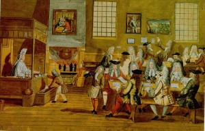 "I want a return of the 17th century London coffeehouse. No, really. (""Koffie in Nederland: Viereeuwen culturgeschiendenis,"" 1668, Wikimedia file in public domain)"