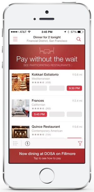 OpenTable Serves Up Another Way To Pay The Bill Using Your Phone - Open table dinner