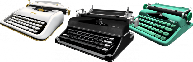 3D models of the app's three typewriters
