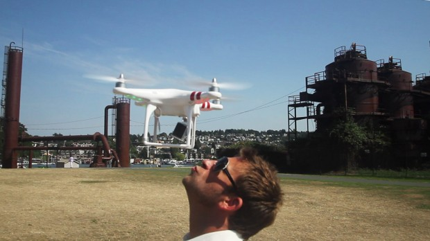 Photographer Chase Jarvis with a drone at Gas Works Park in Seattle.
