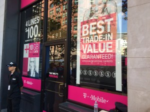 The view from outside T-Mobile's Uncarrier 7.0 event in San Francisco