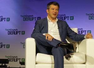 Travis Kalanick speaking at the TechCrunch Disrupt conference in San Francisco.