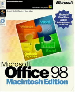 """Microsoft Office 98 Macintosh Edition"". Via Wikipedia - http://en.wikipedia.org/wiki/File:Microsoft_Office_98_Macintosh_Edition.PNG#mediaviewer/File:Microsoft_Office_98_Macintosh_Edition.PNG"