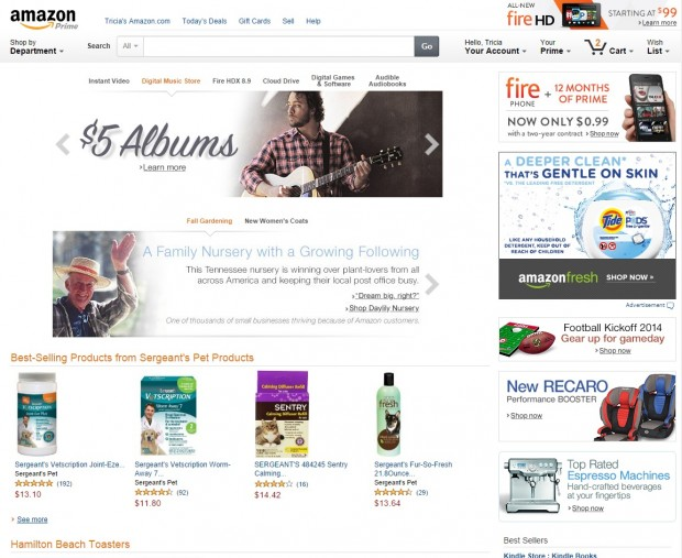 Amazon's current homepage, which is still appearing on the Chrome browser.