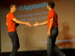 Chris DeVore of Founder's Co-op and Robi Ganguly of Apptentive at the TechStars Demo Day in 2012.