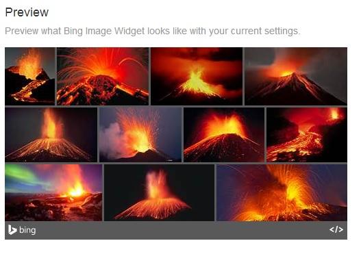 bing image widget