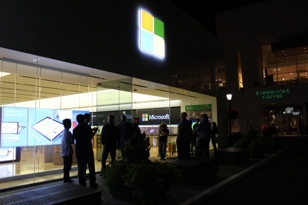About 15 gamers wait outside the University Village Microsoft Store just hours before Destiny's midnight launch.