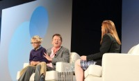 Michael Lewis and his son, Walter Jack, on stage at the  2014 Tableau Conference in Seattle.