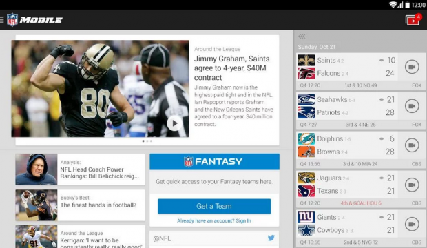 The NFL Mobile app.
