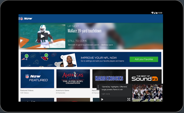 The NFL Now app.
