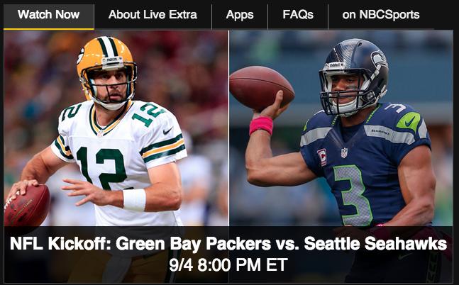 NBC livestreams its Sunday Night games.