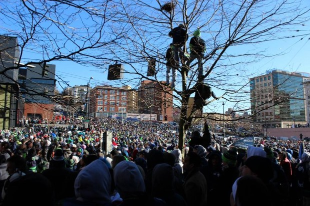 Seahawks fan line the streets of Seattle during February's Super Bowl parade.