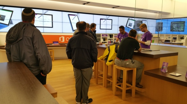 on the scene at the microsoft store for the launch of new microsoft