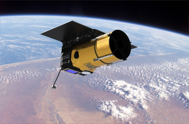 An artist's rendering of the Arkyd 100 space telescope in orbit. The launch of the Arkyd 3 engineering demonstrator Monday is the first big step in Planetary Resources' plan to find and mine near-Earth asteroids.