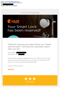 a May 2013 August Smart Lock pre-order confirmation email