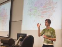 University of Washington professor Kate Starbird talks about her research at a Wednesday night seminar. Credit: Ashley Stewart.