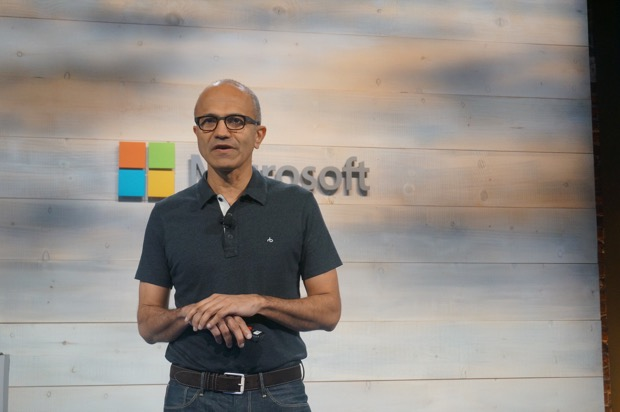 Microsoft CEO Satya Nadella presents at the company's cloud event in San Francisco