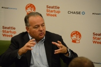 RealNetworks founder Rob Glaser speaking at the University of Washington as part of Seattle Startup Week.