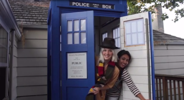 Producer Wanda Bertram and director Gisella Bustillos bust out of a Dr. Who TARDIS to promote their time travel documentary. (Screenshot: Kickstarter video)