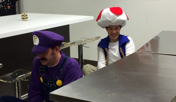 A few Super Mario Brothers characters racing around the ExtraHop  kitchen.