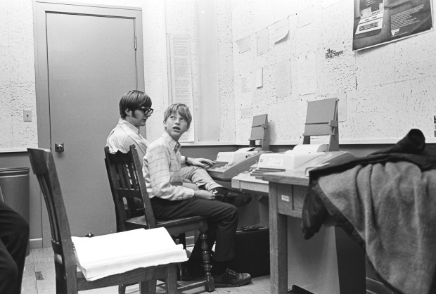 Paul Allen, left, and Bill Gates at Lakeside School in 1970. (Bruce Burgess Photo Archive)