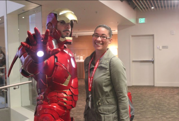 Writer and first-time convention-goer Ashley Walls poses with Rob Doran in his Iron Man cosplay. Photo: Allison Amaral
