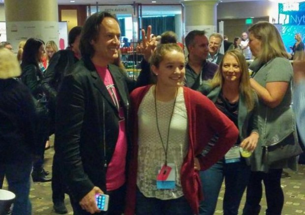 "T-Mobile CEO John Legere got to meet with ""Inventions we Love"" winner Brooke Martin at the GeekWire Summit reception."