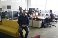 "CenturyLink CTO of Cloud Jared Wray in one of the ""team rooms"" at the company's new offices in Bellevue."