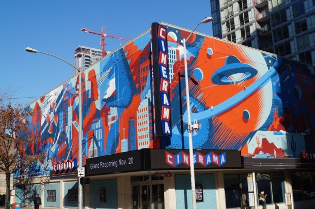 The renovated Cinerama theater in Seattle.