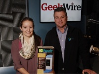 Brooke Martin, inventor of iCPooch, with her dad Chris Martin in the KIRO Radio studios. (Erynn Rose photo)