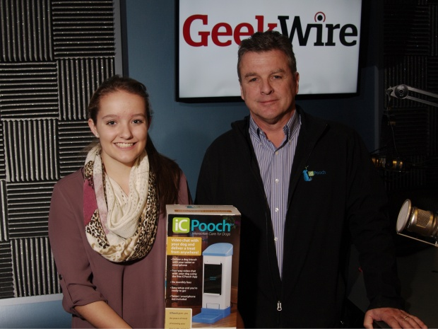 Brooke Martin, inventor of iCPooch, with her dad Chris Martin in the KIRO Radio studios. (Erynn Rose photo)